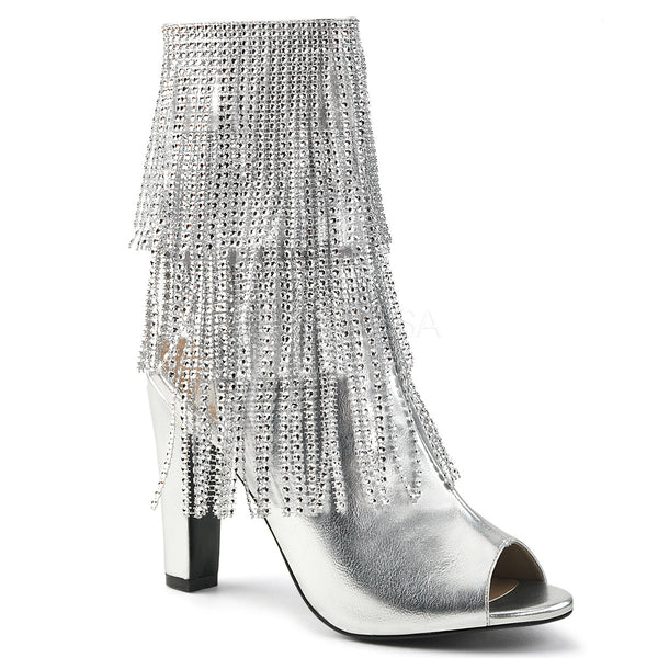 Pleaser Pink Label QUEEN-100 Silver Faux Leather Ankle Boots - Shoecup.com
