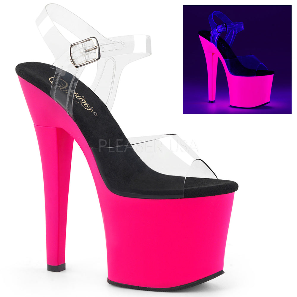 "7"" Heel RADIANT-708UV Clear Neon Hot Pink"
