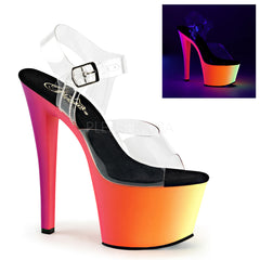 Pleaser RAINBOW-308UV Clear With Neon Multi Platform Ankle Strap Sandals - Shoecup.com