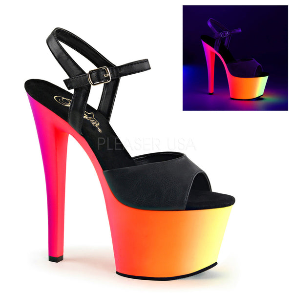 Pleaser RAINBOW-309UV Black Faux Leather Ankle Strap Sandals With Neon Multi Color Platform - Shoecup.com