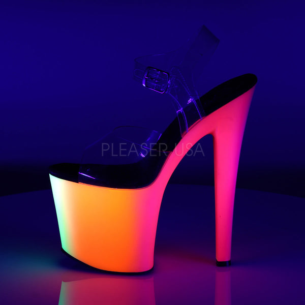 Pleaser RAINBOW-708UV Clear With Neon Multi Platform Ankle Strap Sandals