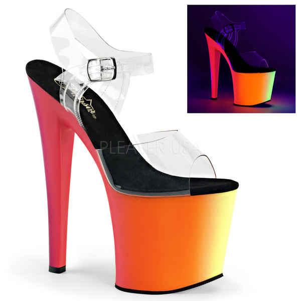 Pleaser RAINBOW-708UV Clear With Neon Multi Platform Ankle Strap Sandals - Shoecup.com