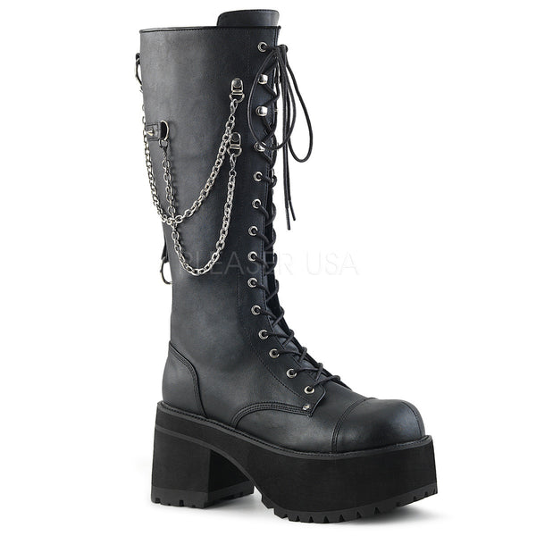 "3 3/4"" Heel, 2 1/4"" Platform Knee High Boot, Metal Side Zip"