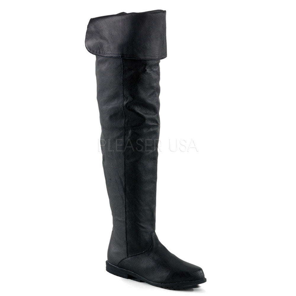 FUNTASMA RAVEN-8826 Black Leather Thigh High Boots