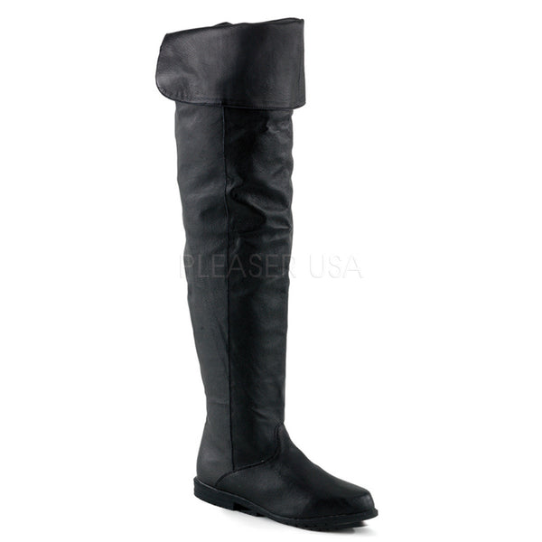FUNTASMA RAVEN-8826 Black Leather Thigh High Boots - Shoecup.com
