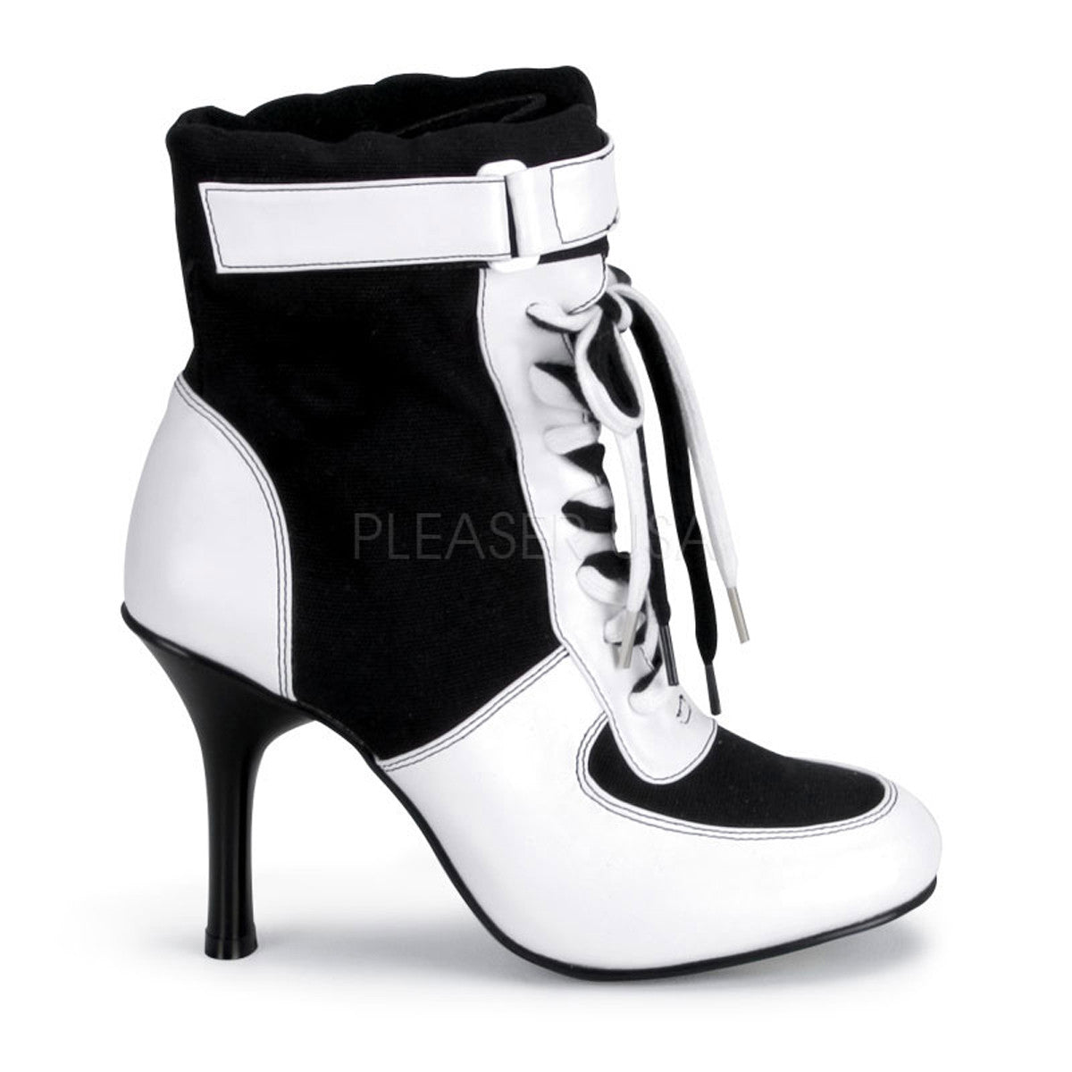 Black And White Lace Up Gangster Womens Shoes