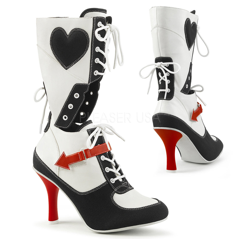Black White Platform Sneakers Lace Up Knee Boots Referee Stripper Heels Pleaser