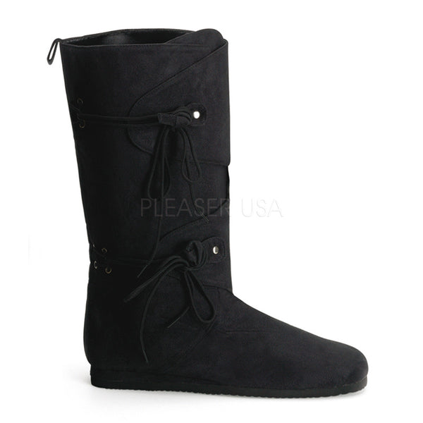 Men's Black Microfiber Renaissance Medieval Pirate Boots - Shoecup.com