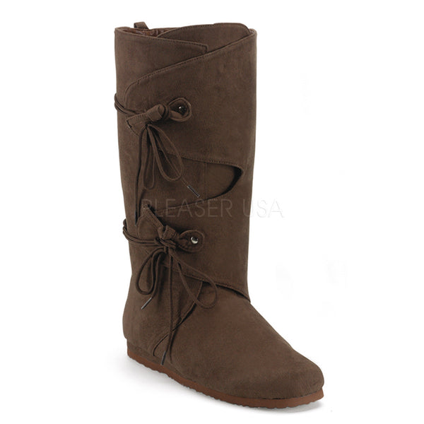 Men's Brown Microfiber Renaissance Medieval Pirate Boots - Shoecup.com