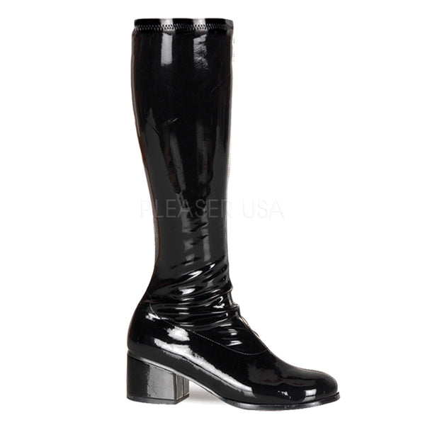 FUNTASMA RETRO-300 Black Stretch Pat Gogo Boots - Shoecup.com