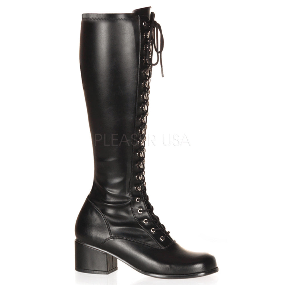 FUNTASMA RETRO-302 Black Stretch Pu Gogo Boots