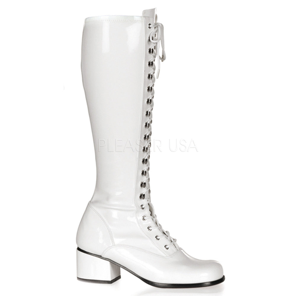 FUNTASMA RETRO-302 White Stretch Pat Gogo Boots