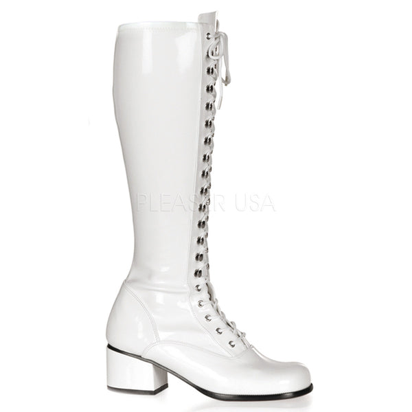 FUNTASMA RETRO-302 White Stretch Pat Gogo Boots - Shoecup.com