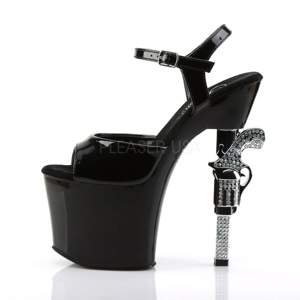 PLEASER REVOLVER-709 Black Ankle Strap Sandals