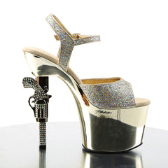 PLEASER REVOLVER-709G Gold Multi Glitter-Gold Chrome Ankle Strap Sandals