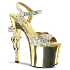 PLEASER REVOLVER-709G Gold Multi Glitter-Gold Chrome Ankle Strap Sandals - Shoecup.com