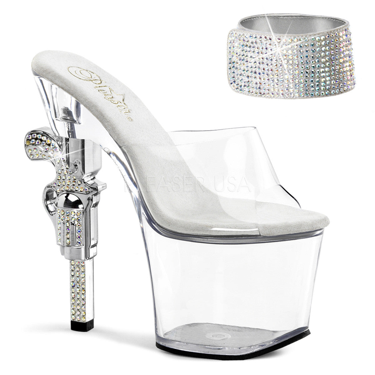 PLEASER REVOLVER-712 Clear Platform Slides
