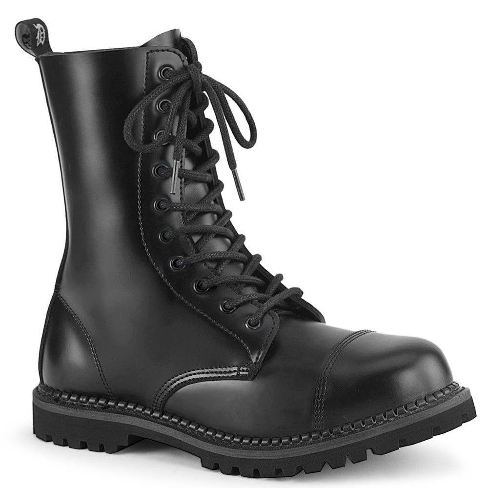 10 Eyelet RIOT-10 Black Leather