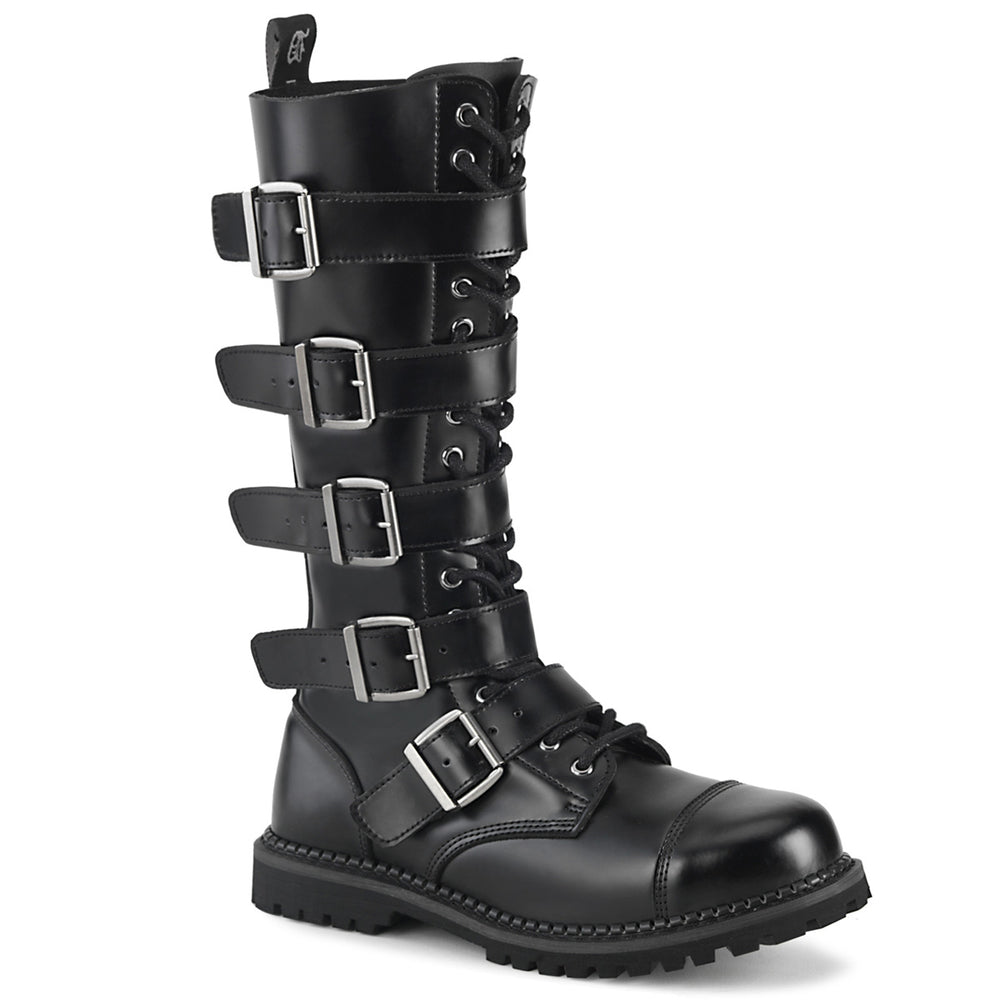 18 Eyelet RIOT-18BK Black Leather