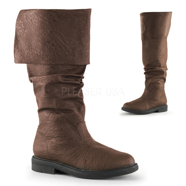 Men's Brown Renaissance Medieval Pirate Boots - Shoecup.com