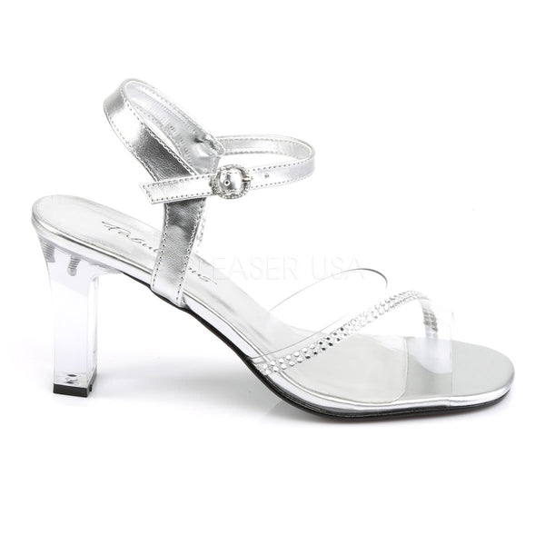 FABULICIOUS ROMANCE-308R Clear-Silver Metallic Pu Ankle Strap Sandals