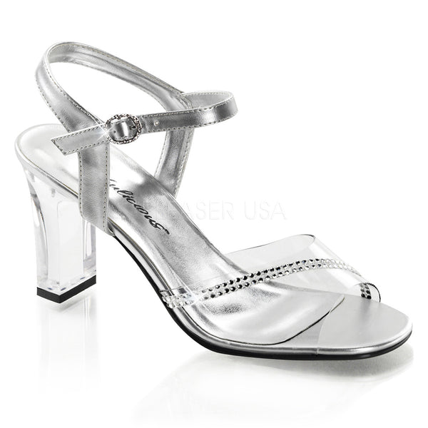 FABULICIOUS ROMANCE-308R Clear-Silver Metallic Pu Ankle Strap Sandals - Shoecup.com