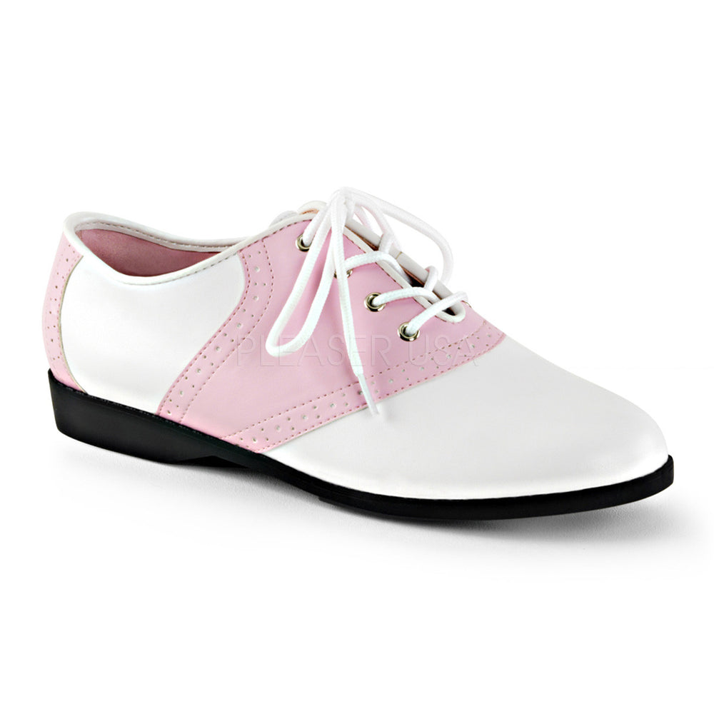 Funtasma SADDLE-50 Baby Pink-White Pu Saddle Shoes