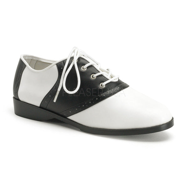 FUNTASMA SADDLE-50 Black-White Pu Retro Shoes - Shoecup.com