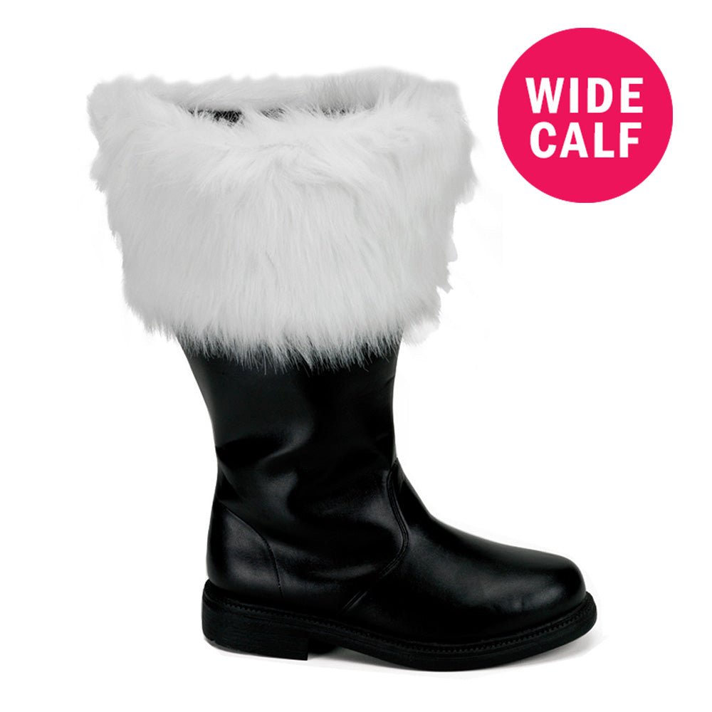 Men's Black Pu Wide Calf Santa Boots with White Faux Fur