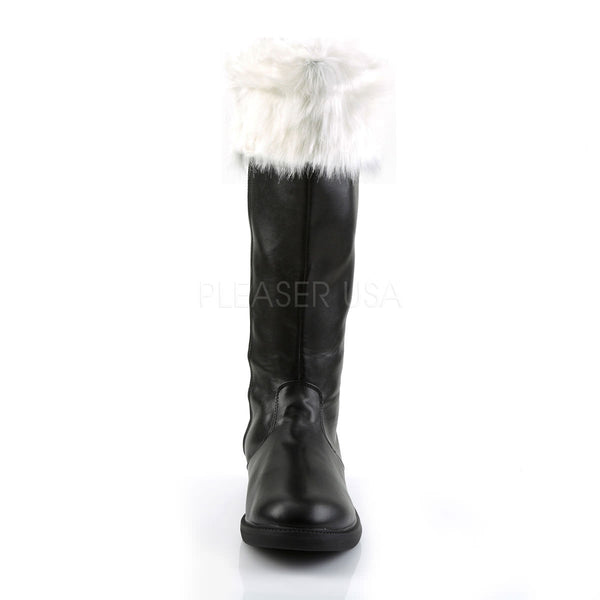 Men's Black Pu-White Faux Fur Santa Boots