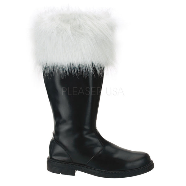 Men's Black Pu-White Faux Fur Santa Boots - Shoecup.com