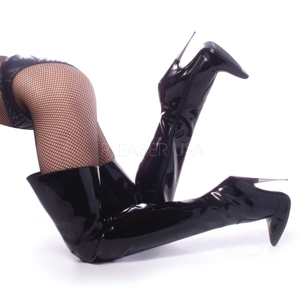 DEVIOUS SCREAM-3010 Black Pat Thigh High Boots