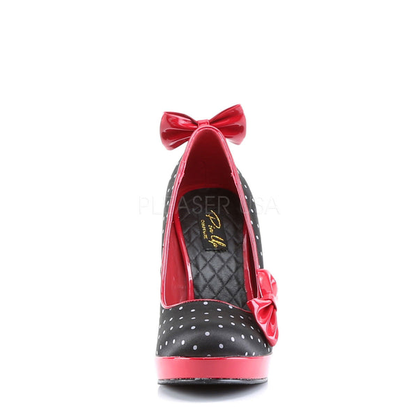 Pin Up Couture SECRET-12 Black Satin-Red Patent (Polka Dots Print) Pumps - Shoecup.com - 4