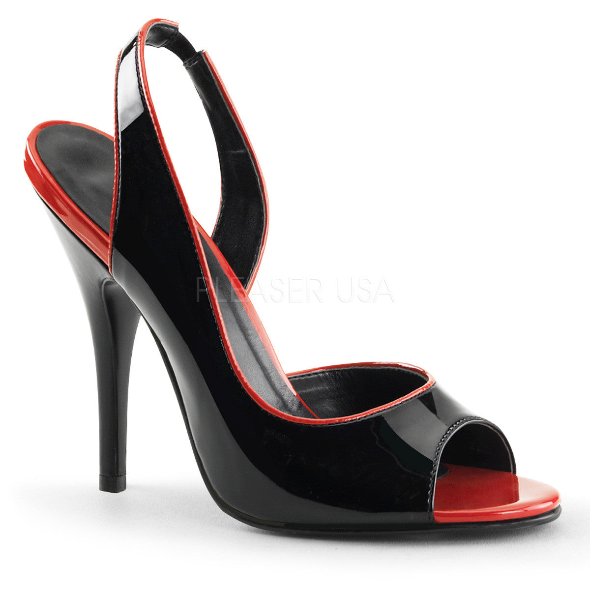 Pleaser SEDUCE-117 Black-Red Patent Sling Back Sandals - Shoecup.com