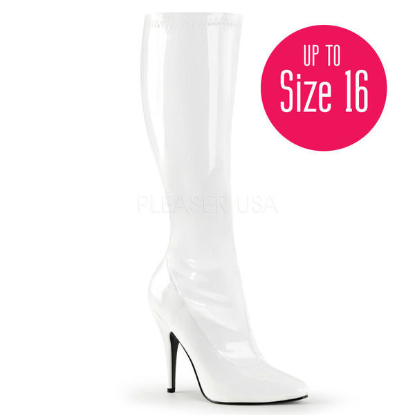 Pleaser SEDUCE-2000 White Stretch Patent Knee High Boots - Shoecup.com