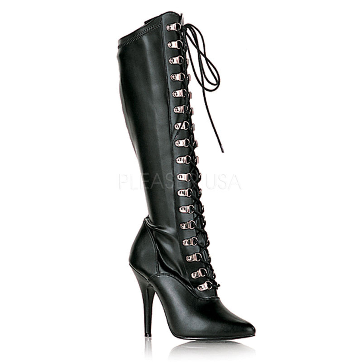 PLEASER SEDUCE-2024 Black Stretch Pu Knee High Boots - Shoecup.com