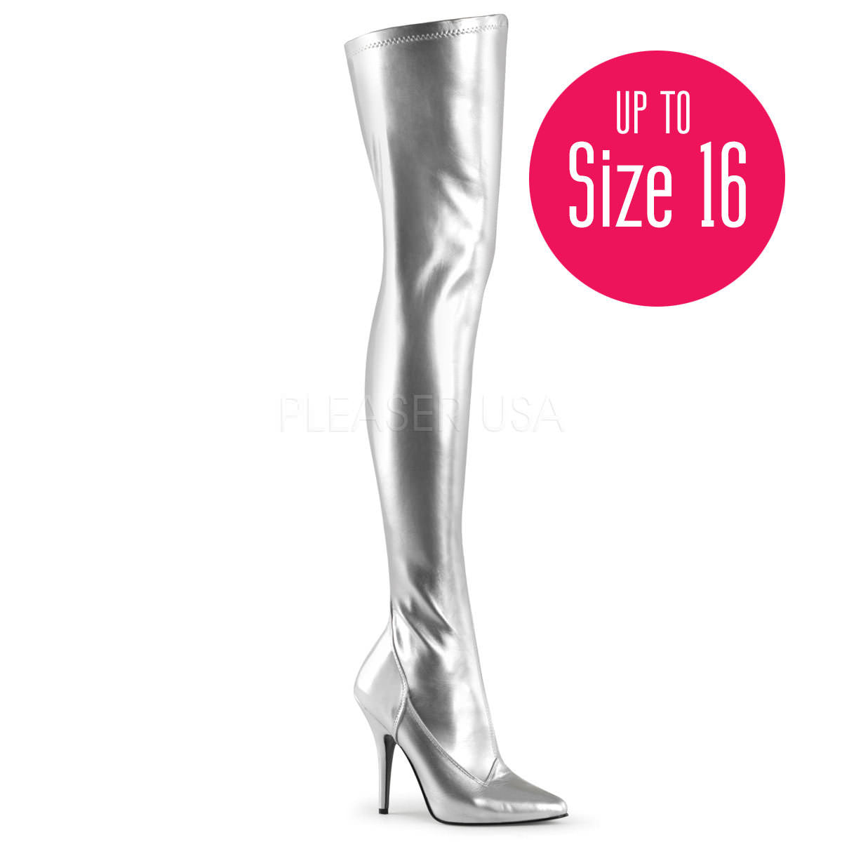 Pleaser Seduce 3000 Black Stretch Patent Pointed Toe Classic Thigh High Boots
