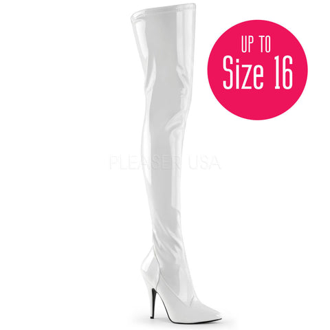 Pleaser SEDUCE-3000 White Stretch Patent Thigh High Boots