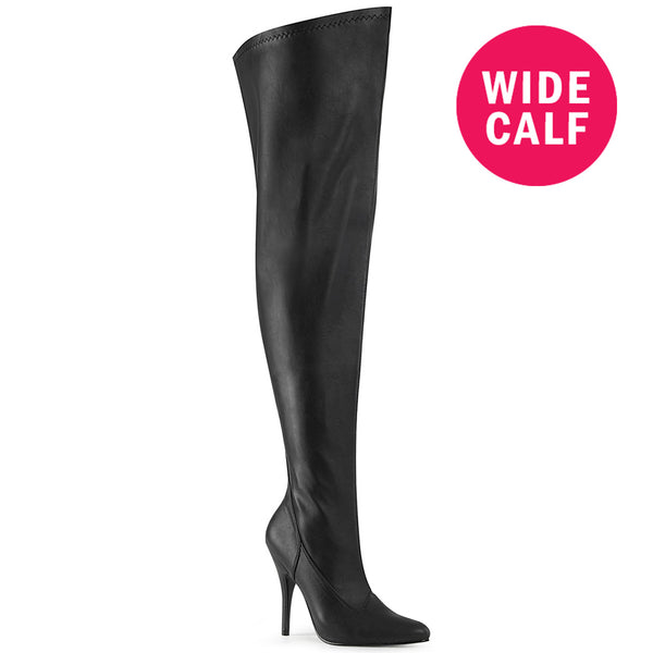 "5"" Heel SEDUCE-3000WC Black Pu (Wide Calf)"