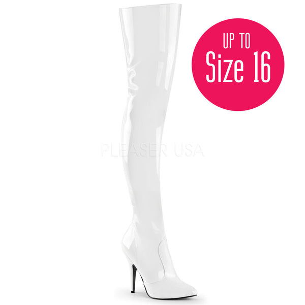 PLEASER SEDUCE-3010 White Pat Thigh High Boots - Shoecup.com - 1