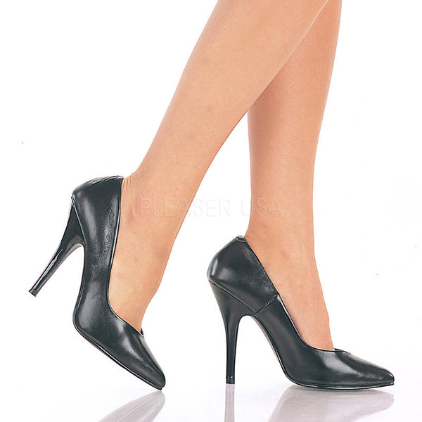 Pleaser SEDUCE-420 Black Leather Classic Pumps - Shoecup.com