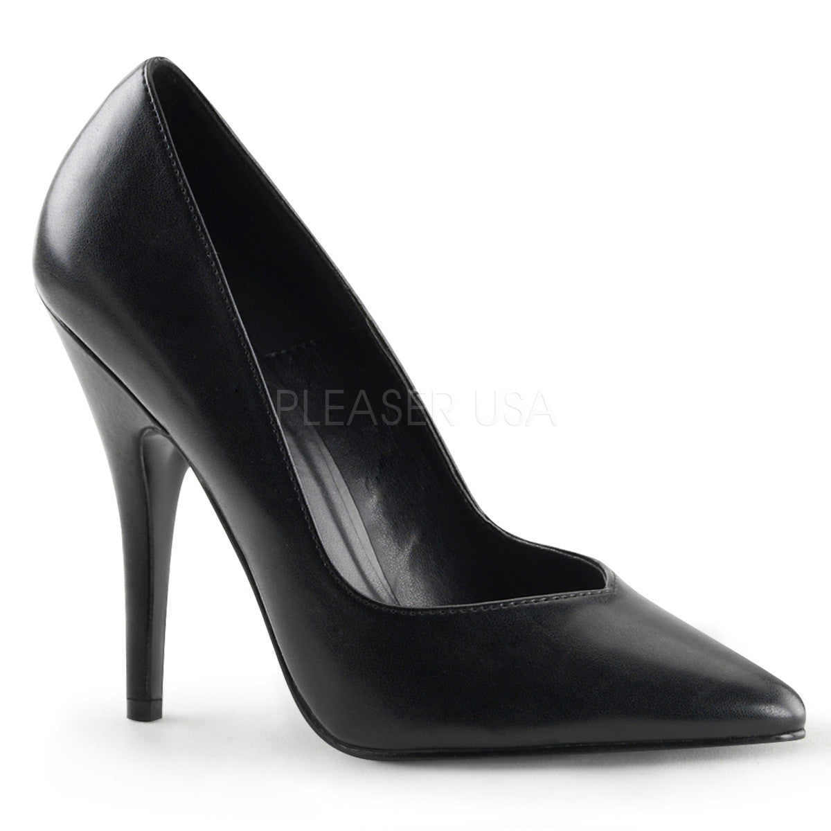 PLEASER SEDUCE-420V Black Pu Pumps - Shoecup.com