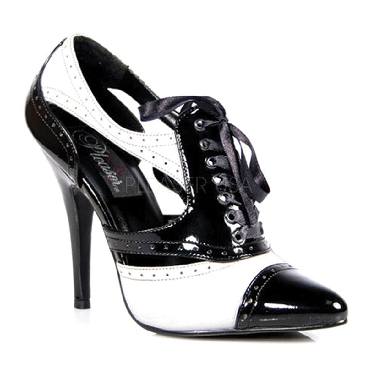 PLEASER SEDUCE-458 Black-White Pat Pumps - Shoecup.com