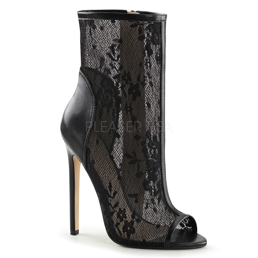 5 Inch Heel Black Lace Ankle Boots SEXY-1008