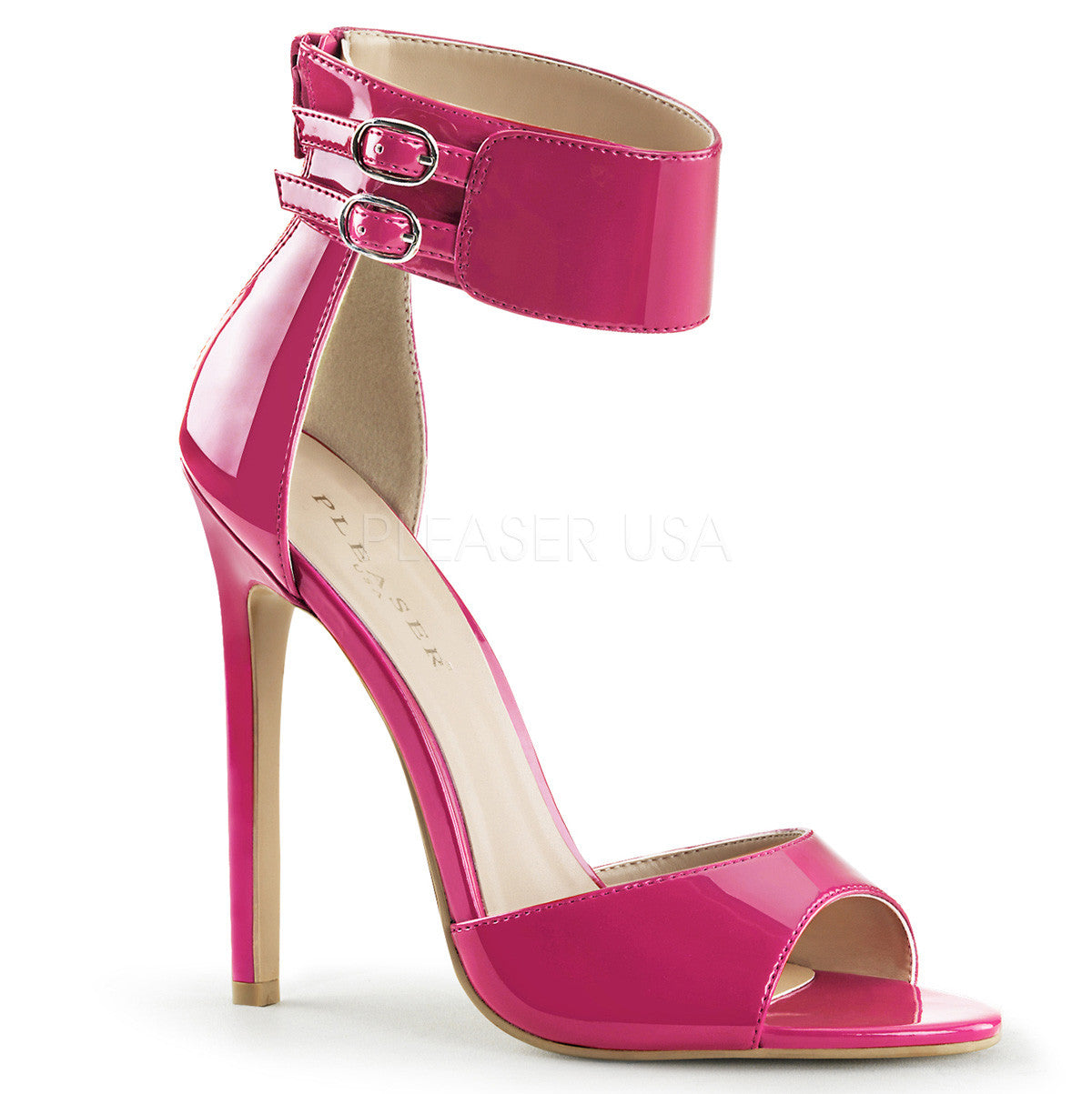 Pleaser SEXY-19 Fuchsia Patent Ankle Strap Sandals - Shoecup.com