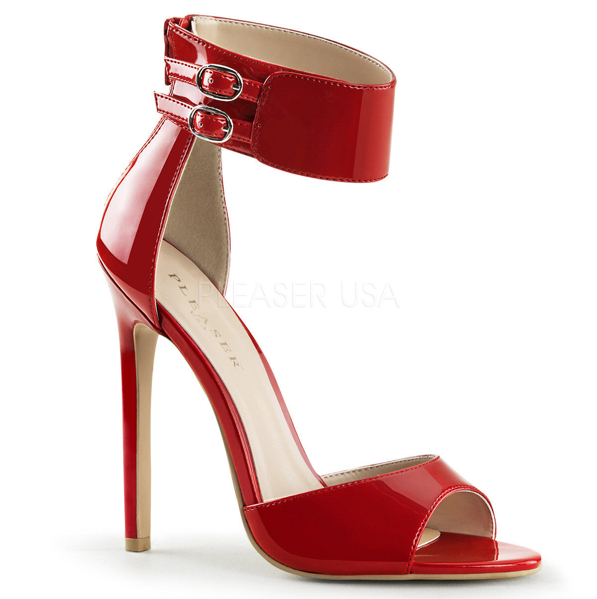 Pleaser SEXY-19 Red Patent Ankle Strap Sandals - Shoecup.com