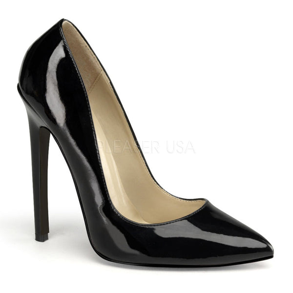 PLEASER SEXY-20 Black Pat Stiletto Pumps - Shoecup.com