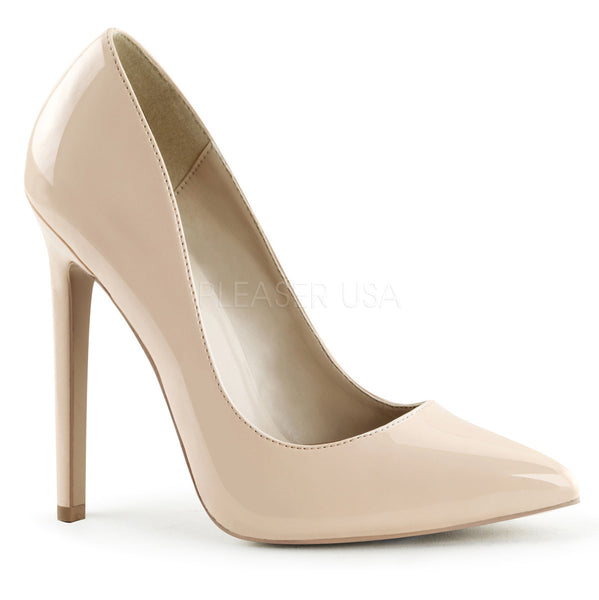 Pleaser SEXY-20 Nude Patent Pointed Toe Pumps - Shoecup.com