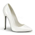 PLEASER SEXY-20 White Pat Stiletto Pumps - Shoecup.com