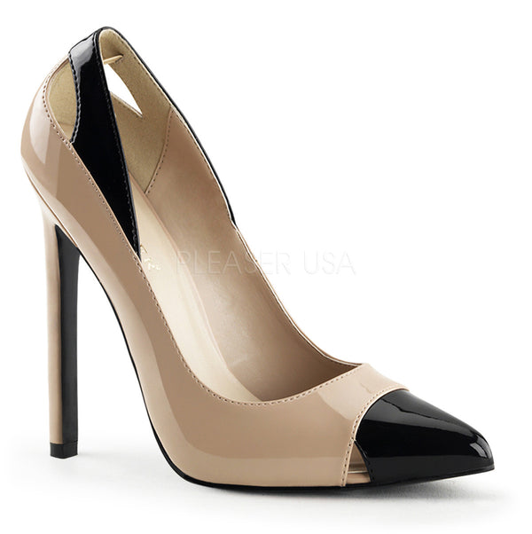 Pleaser SEXY-22 Nude-Black Patent Pointed Toe Pumps - Shoecup.com